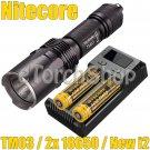 Nitecore TM03 Set 2x NI18650D Battery New I2 LED Smart Charger Flashlight Torch
