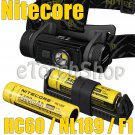 Nitecore HC60 Set 2x 18650 Battery 1x F1 USB Charger Rechargeable Headlamp