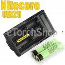 Nitecore UM20 USB Li-ion Charger 2x Panasonic 3400mAh 18650 Rechargeable Battery