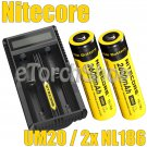 Nitecore UM20 USB Li-ion Charger 2x NL186 2600mAh 18650 Rechargeable Battery