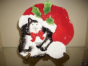 Christmas Plate Fitz and Floyd Kitty Claus, Price Includes S&H