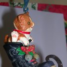 Christmas Ornament Cat in Boot/Skate 1989 M.Gilmore Designs, Price Includes S&H