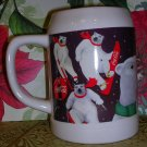 Coca-Cola 1995 Beer Stein with Santa and Polar Bears, Price Includes S&H