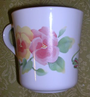 Coffee Cups (10) Corning Summer Blush Pansy, Price Includes S&H