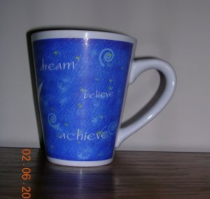 Mary Kay 16oz Blue/White Ceramic Mug, Reach for the Stars Consultant Mug, Price Includes S&H