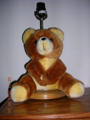 Plush Big Brown/Tan Stuffed Teddy Bear Lamp Made In Taiwan, Price Includes  Su0026H