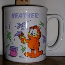 Garfield Painting Mug with Heather's Name, Price Includes S&H