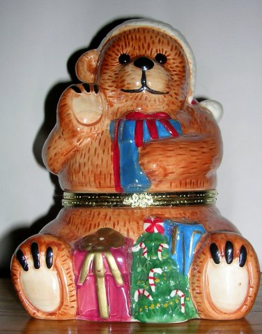 Mr. Christmas Bear Porcelain Music Box Jingle Bells, Price Includes S&H