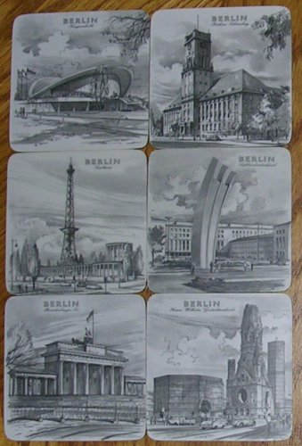 Melamin Quality Schuberth Tamat-Serie Berlin Monuments Coaster Set, Price Includes S&H