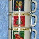 Cypress Home Espresso/Cappuccino Christmas Cups--Stackable Set of 4, Price Includes S&H
