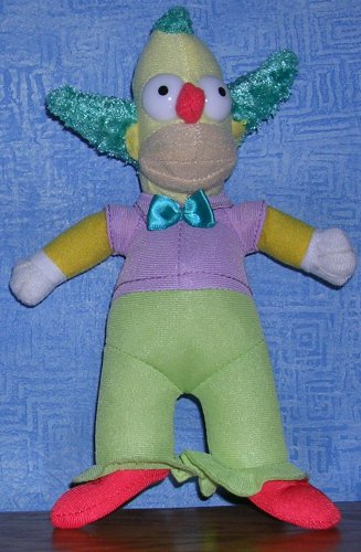 """The Simpsons Krusty the Clown Plush Stuffed  by Toy Factory 8""""--2014, Price Includes S&H"""