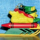 "1998 Hallmark Keepsake CRAYOLA Crayon Series #10 ""Bright Sledding Colors"", Price Includes S&H"
