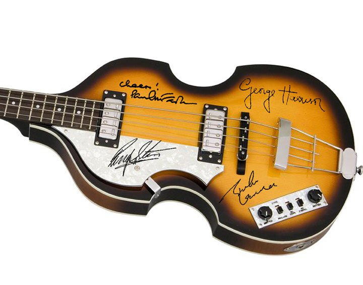 The Beatles Autographed Signed Paul McCartney Hofner Bass Guitar John Lennon