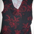 George, Women V-Neck Black Blouse with Red floral pattern, Size L
