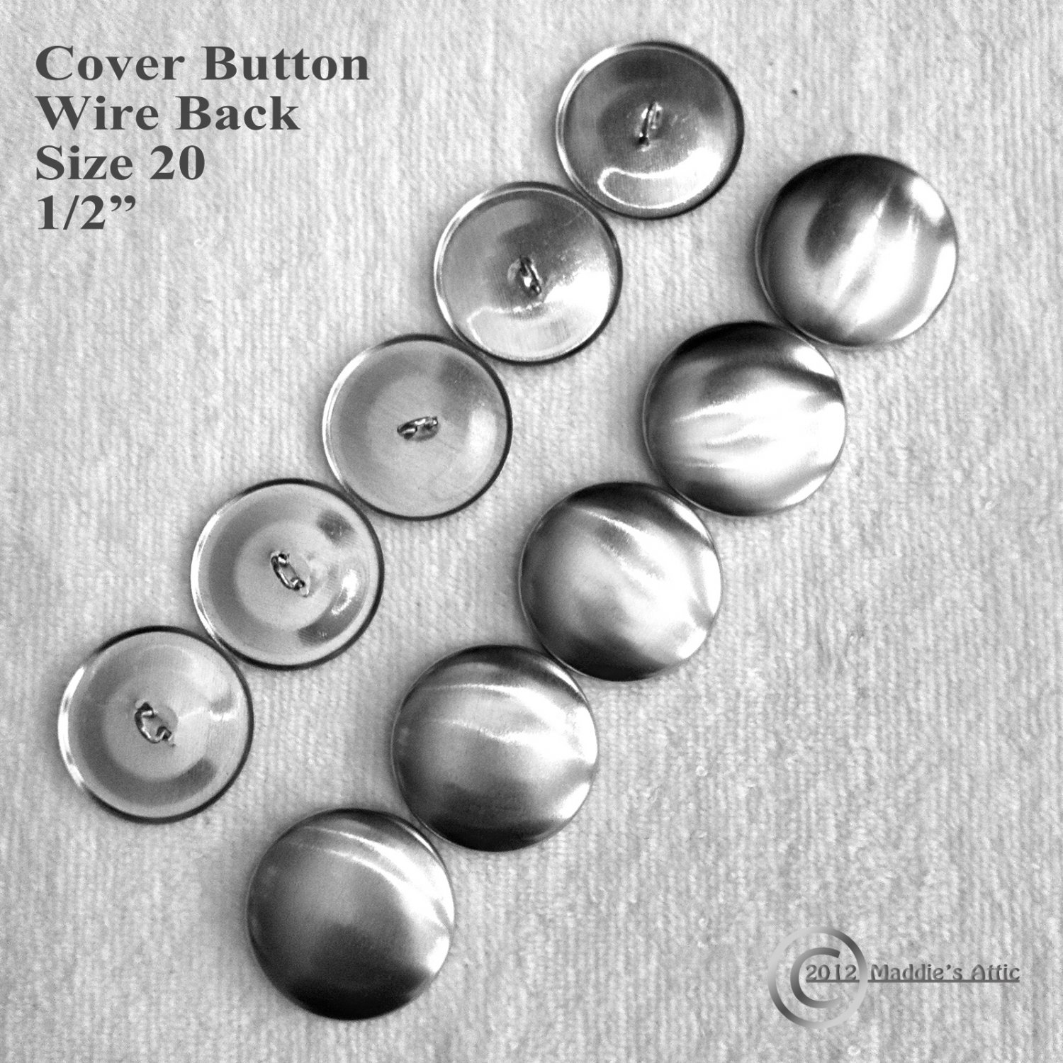 500 Wire Back Fabric Cover Buttons - Size 20 (1/2 inch)