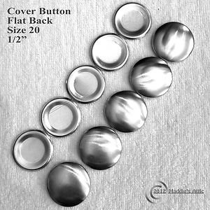 25 Flat Back Cover Buttons - Size 20 (1/2 inch)