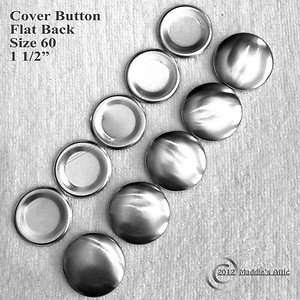 10 Flat Back Cover Buttons - Size 60 (1 1/2 inch)
