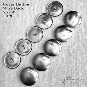 100 Wire Back Cover Buttons - Size 45 (1 1/8 inch)