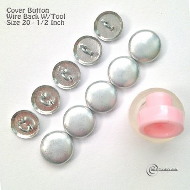 10 Wire Back Cover Buttons Kit with Assembly Tool - Size 20 (1/2 inch)