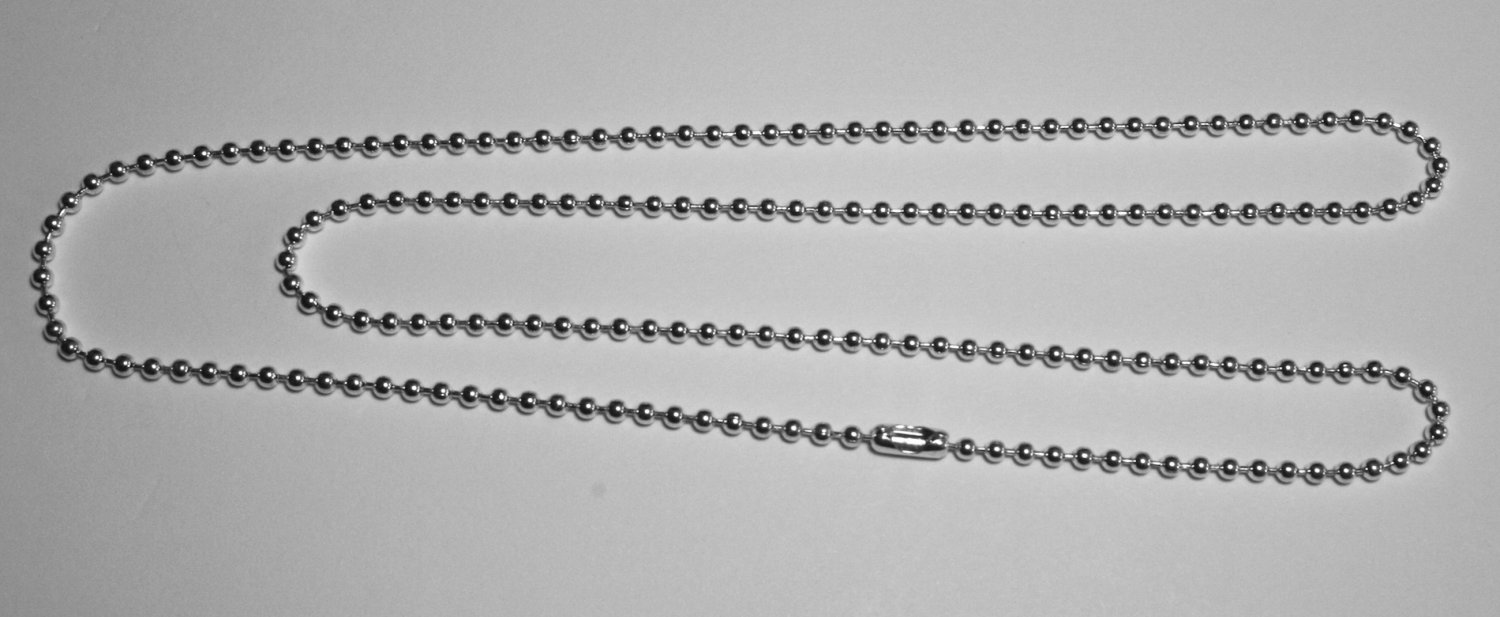 "5 Silver Plated 30"" Long Ball Chain Necklace with Connector"