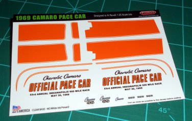 1969 Camaro Pace Car Decal Set 1:25 Scale