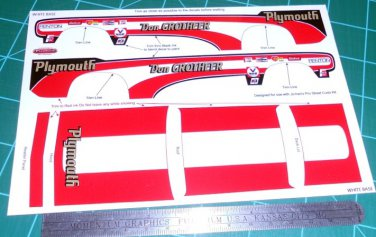 Don Grotheer 1971 Cuda Drag Car Decal Set 1:25 Scale