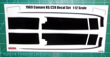 1969 Camaro RS/Z28 Decal Set 1:12 Scale - Black