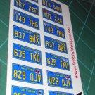 California License Plate Set 1:12 Scale