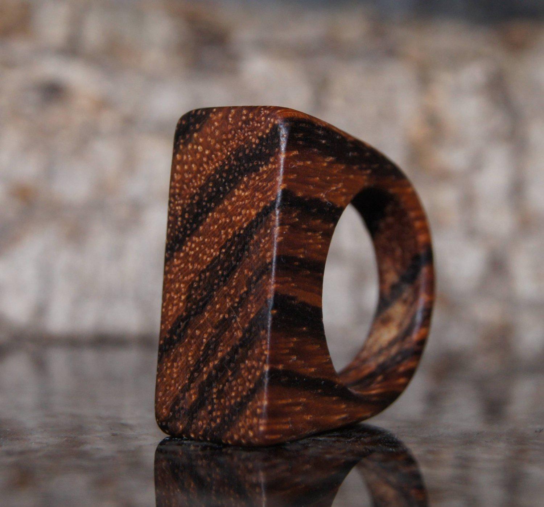 Zebra Wood Ring, US  Size 7