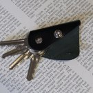 Leather keychain, key holder, holds 1- 4 regular keys