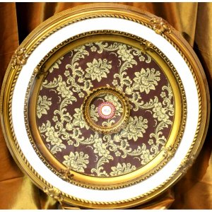 """31.5"""" Gold and White with Red Pattern Ceiling Medallion"""