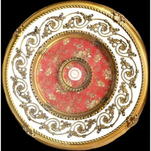 """31.5"""" Gold White with Red Pattern Ceiling Medallion"""