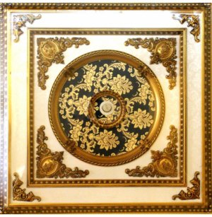 "47""x47"" Green with Gold Floral Square Ceiling Medallion"