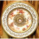 "White and Gold w/ Pink Cherub Ceiling Medallion Round Circle 43"" New Home Decor"