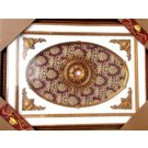 "Oval Red With Gold Floral Ceiling Medallion Rectangular 47""x63"""
