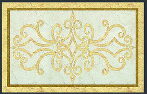 "Home Decor Waterjet Cut Marble Floor/Wall Medallion 66""x42"" Granite Back"
