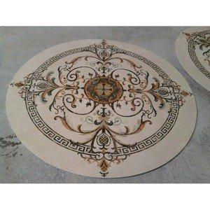 "Decor Waterjet Cut Marble Floor/Wall Medallion 60"" Round Granite Back"