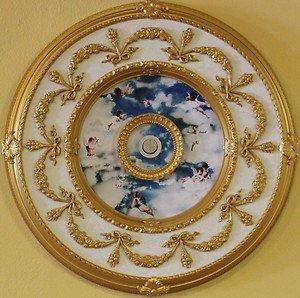 Decor ceiling Medallion with blue/white cloud-cherubs insert