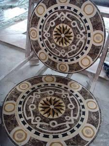 "Home Decor Waterjet Cut Marble Floor/Wall Medallion Round 36"" Granite Back"
