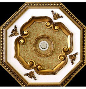 """Unique White with Gold  insert Ceiling Medallion Octagonal 22"""""""