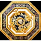 Dark Blue and Gold with Dark Blue pattern Ceiling Medallion Octagonal 27.5 inch