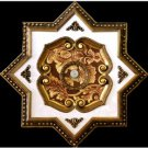 Red and Gold Floral Star Ceiling Medallion 27""