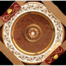 "White and Gold w/ Gold Damask Insert Medallion Round Circle 43"" New Home Decor"