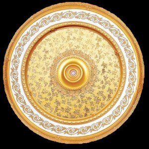 "White and Gold w/ Gold Damask Ceiling Medallion Round Circle 43"" New Home Decor"