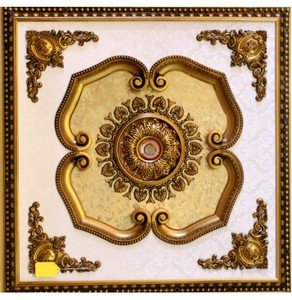 Gold With Gold Floral Ceiling Medallion Square 59 inches New