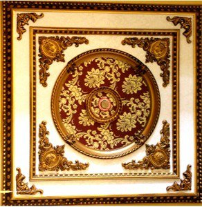 Red with Gold Floral Ceiling Medallion Square 47 inches New