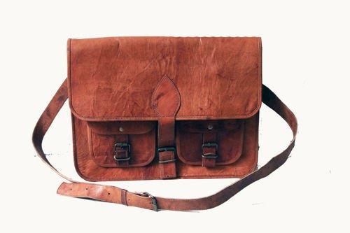 Goat Leather Bag Original Leather Laptop Messenger Shoulder Cross Bag #110