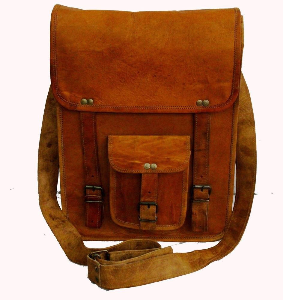 Goat Leather Bag Original Leather Laptop Messenger Shoulder Cross Bag #118
