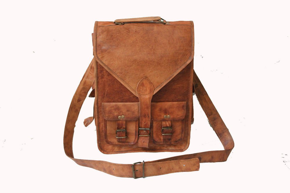 "15"" Men's Genuine Leather Messenger Laptop Bag School Office Books Bag #129"