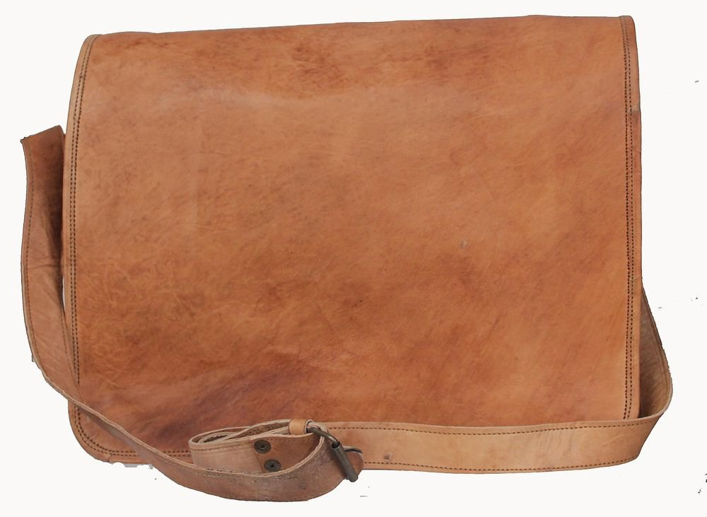 "15"" Stylish Handmade Real Leather Bag, Unisex Laptop Corporate Office Bags #169"